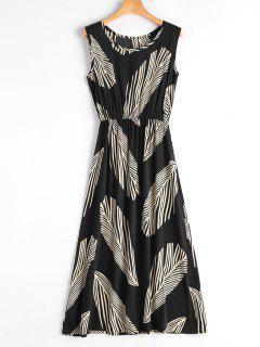 Leaf Print Sleeveless Midi Dress - Black M