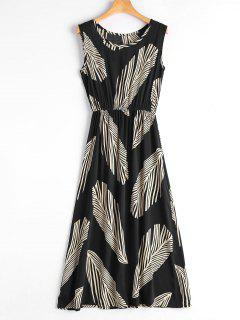 Leaf Print Sleeveless Midi Dress - Black S
