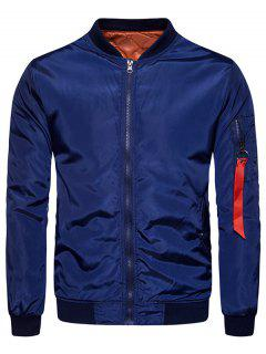Stand Collar Zip Up Padded Bomber Jacket - Deep Blue S