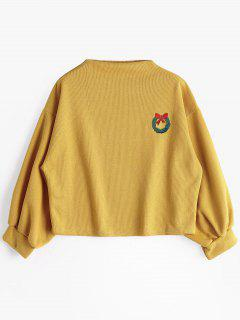 Lantern Sleeve Slash Neck Sweatshirt - Ginger L