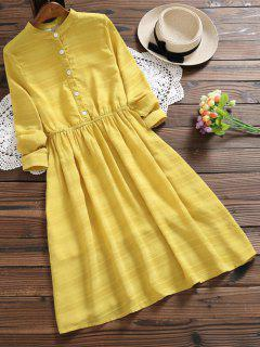 Half Button Striped Flare Dress - Mustard Xl