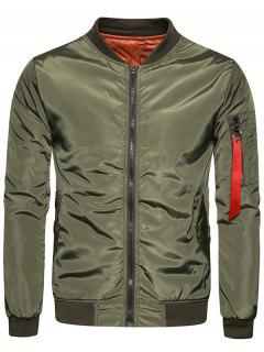 Stand Collar Zip Up Padded Bomber Jacket - Army Green M