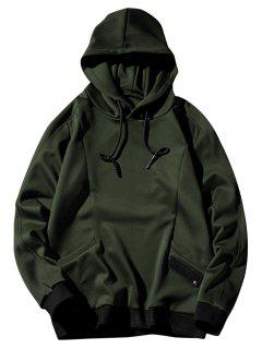 Two Pockets Sports Casual Pullover Hoodie - Green L
