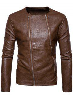 Crew Neck Double Zippers PU Leather Jacket - Brown M