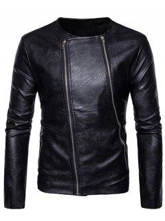 Crew Neck Double Zippers PU Leather Jacket - Black S