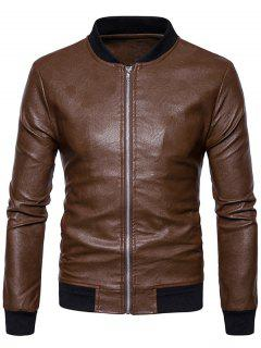 Rib Zip Up Faux Leather Bomber Jacket - Brown M