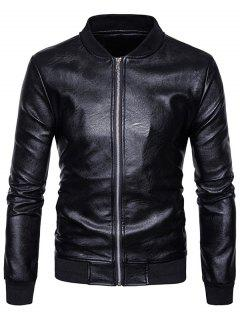 Rib Zip Up Faux Leather Bomber Jacket - Black L