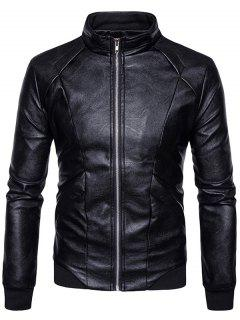 Panel Design PU Leather Zip Up Bomber Jacket - Black M