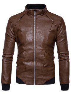 Panel Design PU Leather Zip Up Bomber Jacket - Brown L