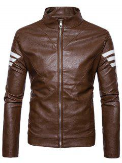 Stripe Embellished Zip Up PU Leather Jacket - Brown Xl