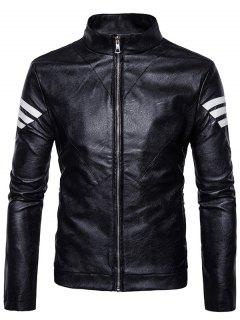Stripe Embellished Zip Up PU Leather Jacket - Black S