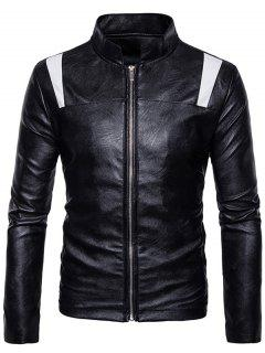 Color Block Panel PU Leather Zip Up Jacket - Black L