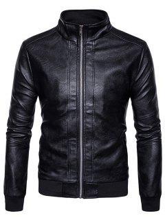 Rib Panel Design Zip Up PU Leather Jacket - Black S