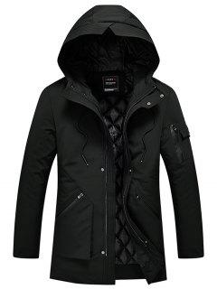Zip Up Quilted Winter Hooded Coat - Black 2xl