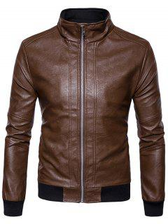Rib Panel Design Zip Up PU Leather Jacket - Brown S