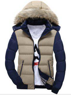 Two Tone Faux Fur Hood Puffer Jacket - Khaki 3xl