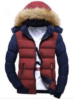 Two Tone Faux Fur Hood Puffer Jacket - Red L