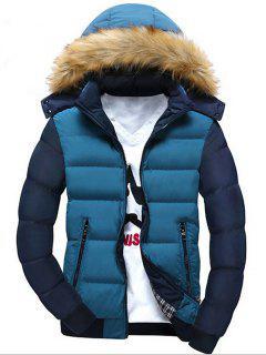 Two Tone Faux Fur Hood Puffer Jacket - Blue L