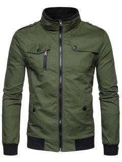 Epaulet Design Pockets Zip Up Cargo Jacket - Army Green M