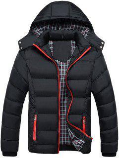 Zip Pocket Hooded Puffer Jacket - Black 3xl
