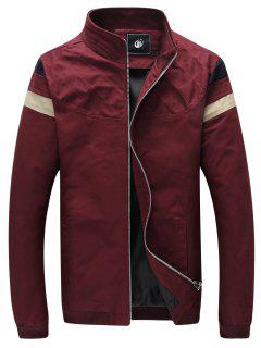 Slim Fit Stripe Trim Zip Up Jacket - Red Xl
