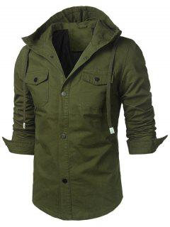 Button Up Chest Pocket Hooded Jacket - Army Green L