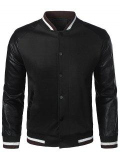 Button Up Faux Leather Panel Jacket - Black 3xl