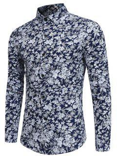 Long Sleeve Tiny Floral Printed Shirt - Cadetblue L