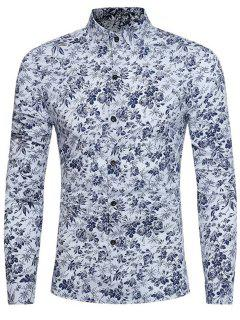 Long Sleeve Tiny Floral Printed Shirt - White 3xl