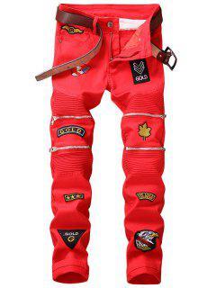 Mit Reißverschluss Verschönte, Gepatchte Biker-Jeans - Rot 36
