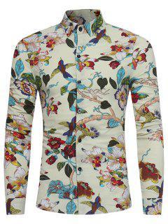 3D Florals Birds Print Cotton Linen Shirt - Off-white 3xl