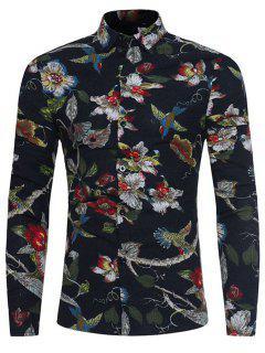 3D Florals Birds Print Cotton Linen Shirt - Black L