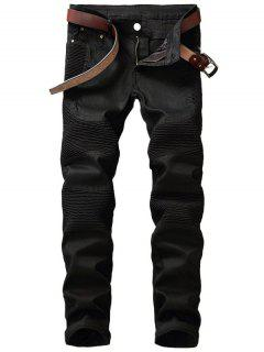 Slim Fit Zip Fly Biker Jeans - Black 32