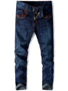 Zip Fly Panel Design Straight Jeans - Deep Blue 30