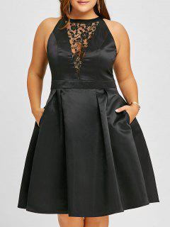 Plus Size Lace Insert Sleeveless Swing Dress - Black 5xl
