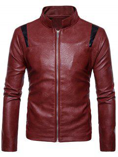 Color Block Panel PU Leather Zip Up Jacket - Red M