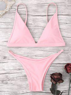 Tiefer Hals G String Bikini Set - Pink S