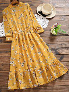 Cut Out Floral Print Flare Dress - Mustard L