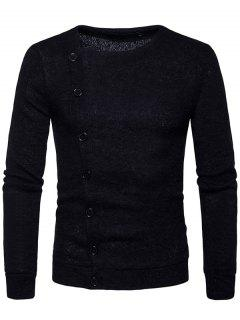 Knitted Oblique Button Up Cardigan - Black L