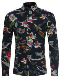 3D Florals Birds Print Cotton Linen Shirt - Black 2xl