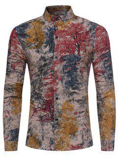 Bunte Pflanzen Tie Dye Print Baumwolle Leinenhemd - Rot Xl