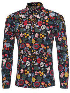 Cartoon Florals Print Cotton Linen Shirt - Black 3xl