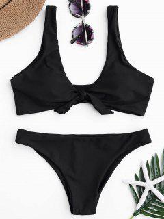 Knotted Scoop Bikini Top And Bottoms - Black L