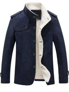 Epaulet Faux Shearling Single Breasted Jacket - Blue Xl