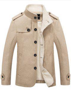 Epaulet Faux Shearling Single Breasted Jacket - Khaki Xl