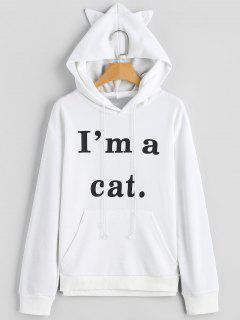 Vordere Taschen-Buchstabe-Grafik-Katze Hoodie - Weiß 2xl