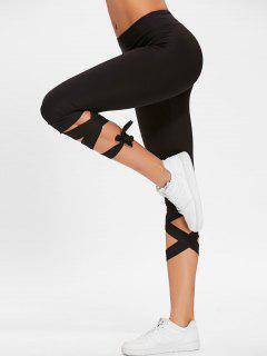 Pantalones De Gimnasia Con Cordones De Talle Alto - Negro Xl