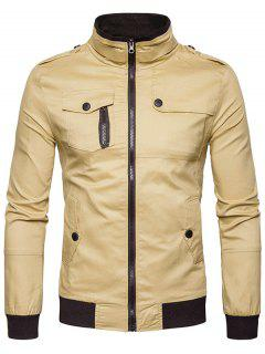 Epaulet Design Pockets Zip Up Cargo Jacket - Khaki Xl