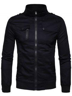Epaulet Design Pockets Zip Up Cargo Jacket - Black Xl
