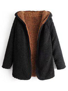 Hooded Open Front Lamb Wool Teddy Coat - Black L